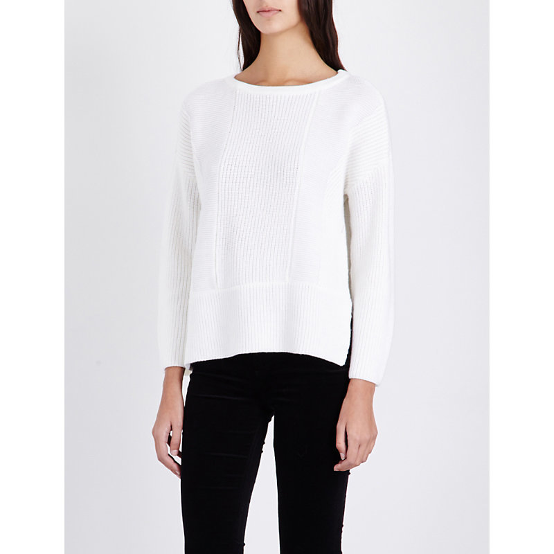 Ribbed Knit Wool Jumper - neckline: round neck; pattern: plain; length: below the bottom; style: standard; predominant colour: white; occasions: casual, creative work; fibres: wool - 100%; fit: loose; sleeve length: long sleeve; sleeve style: standard; texture group: knits/crochet; pattern type: knitted - big stitch; wardrobe: basic; season: a/w 2016