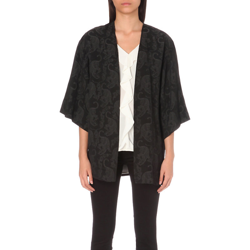 Tigermoon Woven Kimono Jacket, Women's, Noir - sleeve style: dolman/batwing; collar: round collar/collarless; fit: loose; length: below the bottom; secondary colour: charcoal; predominant colour: black; occasions: casual; fibres: polyester/polyamide - 100%; sleeve length: 3/4 length; collar break: low/open; pattern type: fabric; pattern: patterned/print; texture group: woven light midweight; style: fluid/kimono; season: a/w 2016; wardrobe: highlight