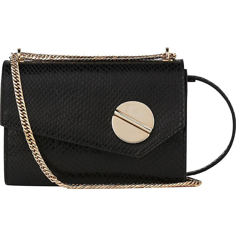 Kay Leather Shoulder Bag, Women's, Bla Black - secondary colour: gold; predominant colour: black; occasions: casual, creative work; type of pattern: standard; style: shoulder; length: shoulder (tucks under arm); size: standard; material: leather; pattern: plain; finish: plain; embellishment: chain/metal; season: a/w 2016