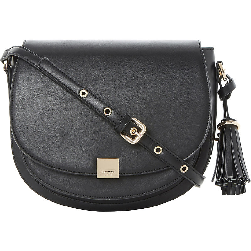 Daddle Saddle Bag, Women's, Black Synthetic - secondary colour: gold; predominant colour: black; occasions: casual, creative work; type of pattern: standard; style: saddle; length: across body/long; size: small; material: faux leather; embellishment: tassels; pattern: plain; finish: plain; wardrobe: basic; season: a/w 2016