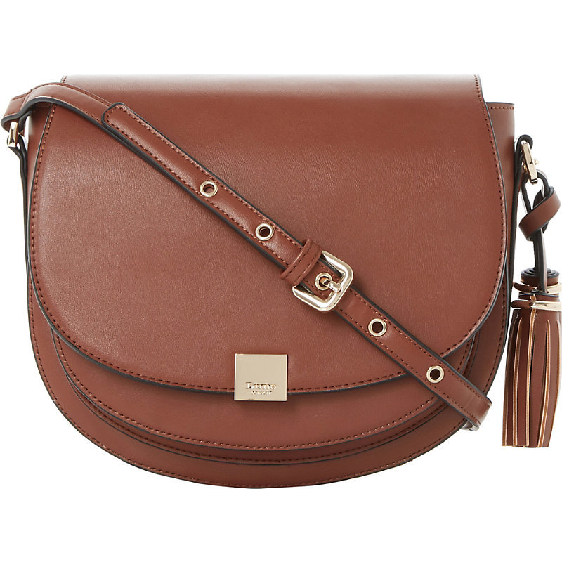 Daddle Saddle Bag, Women's, Brown - predominant colour: tan; secondary colour: gold; occasions: casual, creative work; type of pattern: standard; style: saddle; length: across body/long; size: standard; material: leather; embellishment: tassels; pattern: plain; finish: plain; season: a/w 2016; wardrobe: highlight