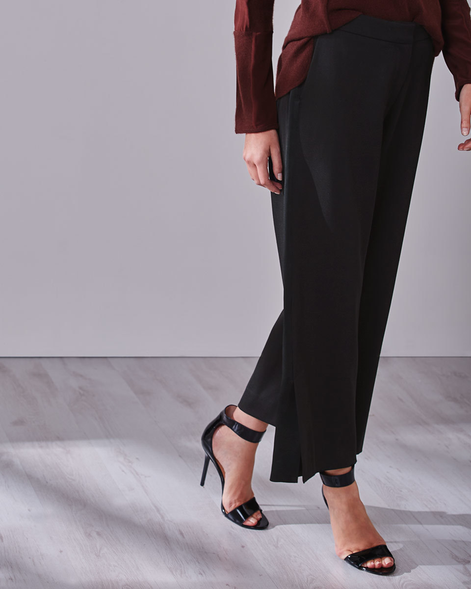 Audrey Side Vent Trousers - length: standard; pattern: plain; waist: high rise; predominant colour: black; occasions: work, occasion; fibres: wool - 100%; fit: wide leg; pattern type: fabric; texture group: woven light midweight; style: standard; season: a/w 2016