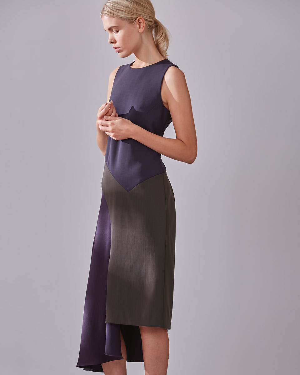 Nancy Panel Shift Dress - style: shift; length: below the knee; fit: tailored/fitted; sleeve style: sleeveless; predominant colour: aubergine; secondary colour: mid grey; occasions: evening; fibres: wool - 100%; neckline: crew; sleeve length: sleeveless; pattern type: fabric; pattern: colourblock; texture group: other - light to midweight; multicoloured: multicoloured; season: a/w 2016; wardrobe: event