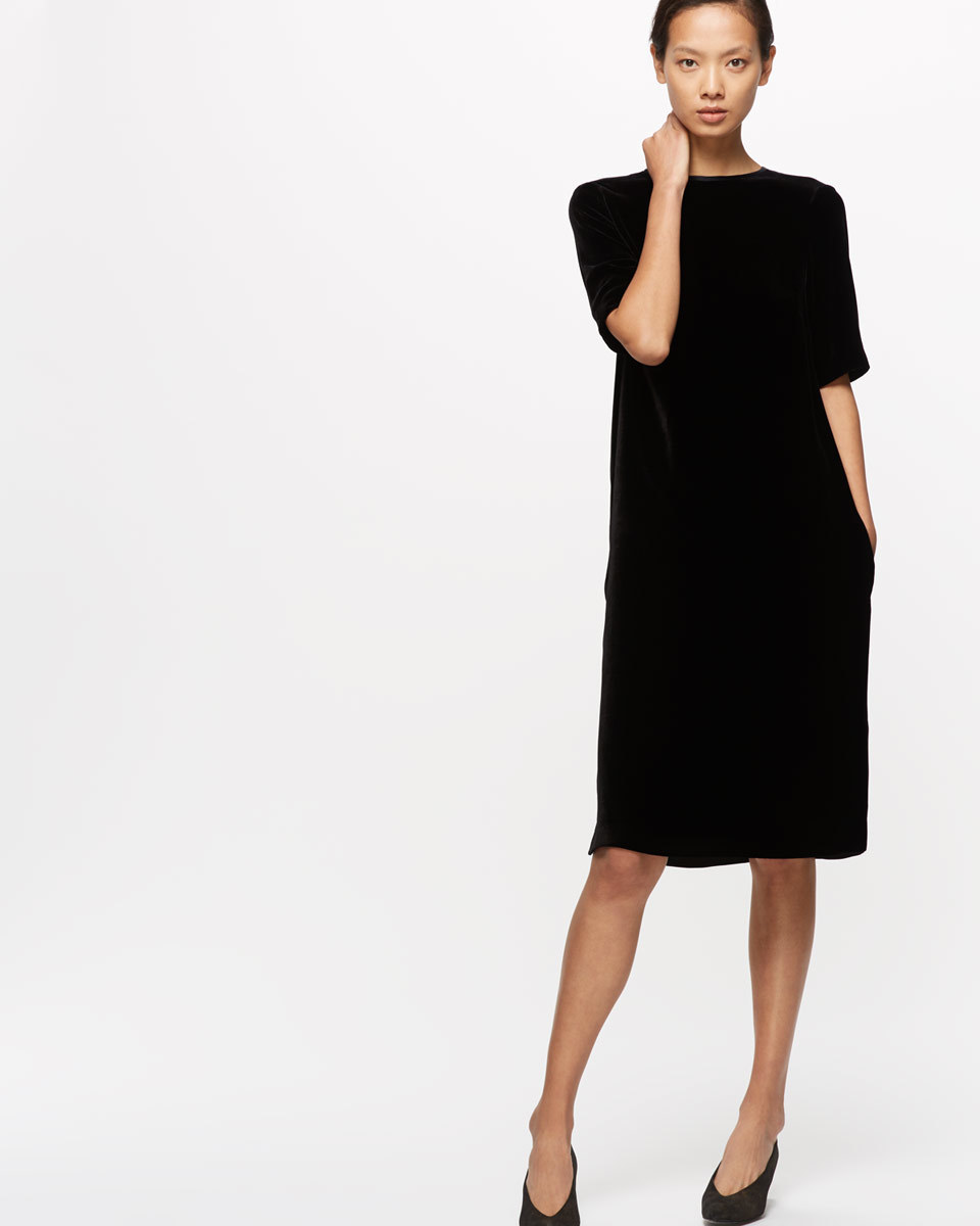 Velvet Tunic Dress - style: shift; pattern: plain; predominant colour: black; occasions: evening; length: on the knee; fit: straight cut; neckline: crew; sleeve length: half sleeve; sleeve style: standard; pattern type: fabric; texture group: velvet/fabrics with pile; fibres: viscose/rayon - mix; season: a/w 2016; wardrobe: event; trends: velvet