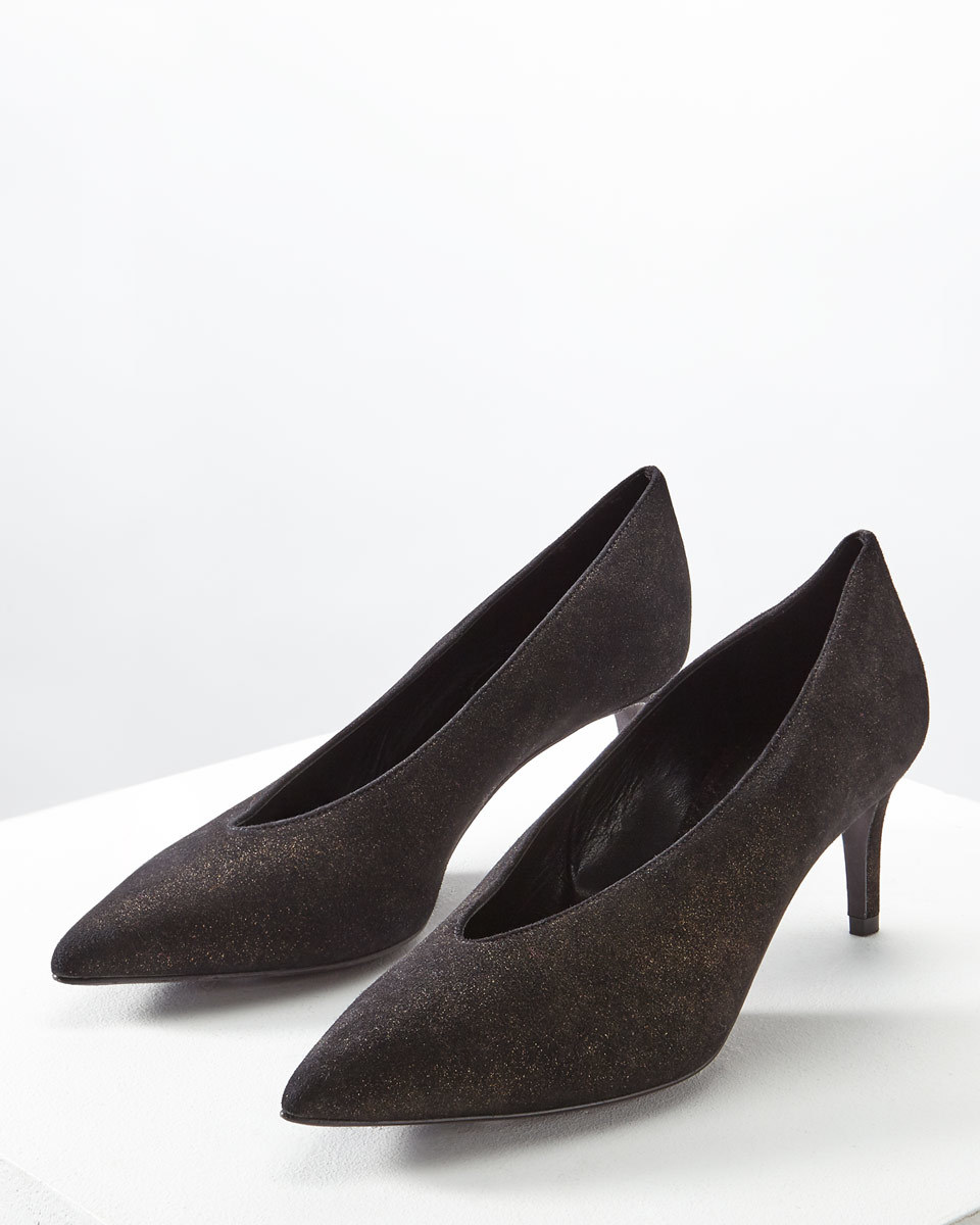 Maisy V Front Shoe - secondary colour: gold; predominant colour: charcoal; occasions: evening; material: suede; heel height: mid; heel: stiletto; toe: pointed toe; style: courts; finish: plain; pattern: plain; season: a/w 2016; wardrobe: event