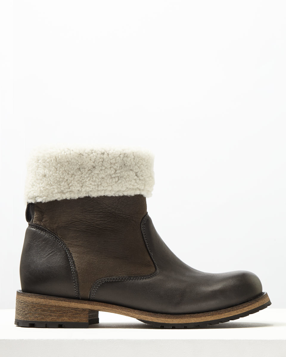 Rae Sheepskin Lined Boot - secondary colour: ivory/cream; predominant colour: chocolate brown; occasions: casual, creative work; material: leather; heel height: flat; heel: standard; toe: round toe; boot length: ankle boot; style: standard; finish: plain; pattern: colourblock; embellishment: fur; season: a/w 2016; wardrobe: highlight