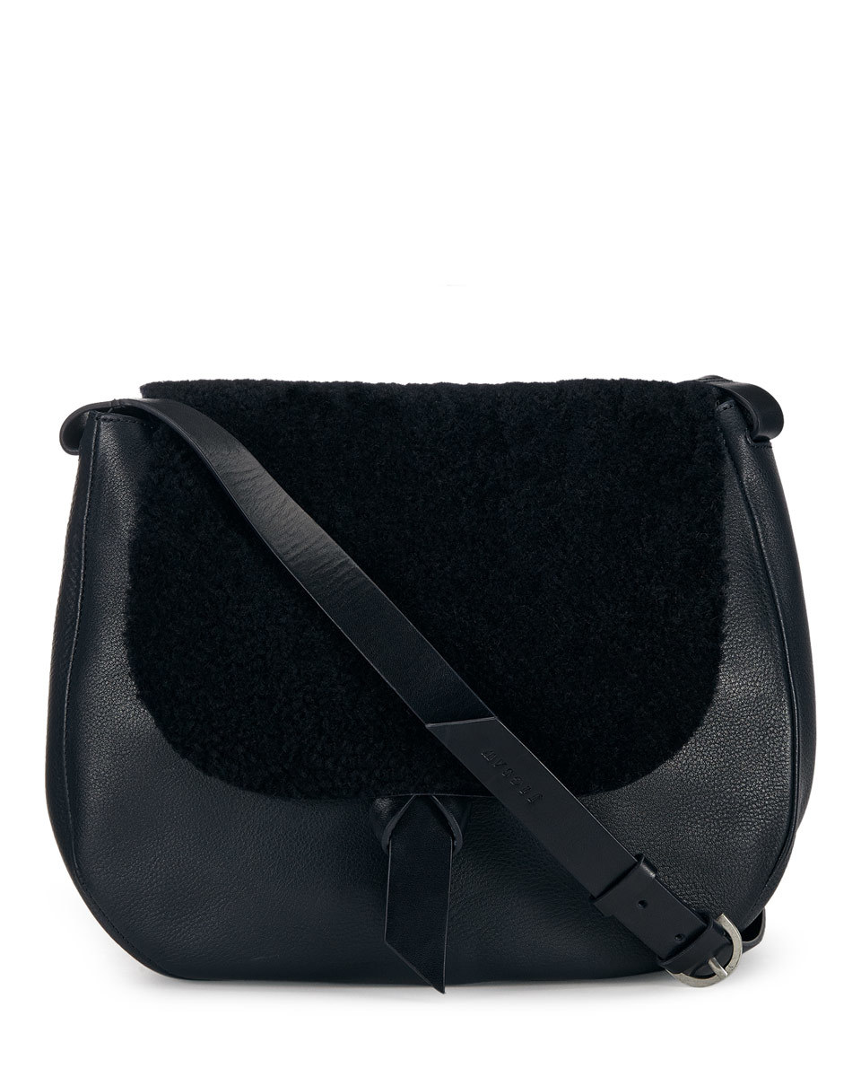 Maud Shearling Saddle Bag - predominant colour: black; occasions: casual, work, creative work; type of pattern: standard; style: saddle; length: across body/long; size: standard; material: leather; pattern: plain; finish: plain; wardrobe: basic; season: a/w 2016