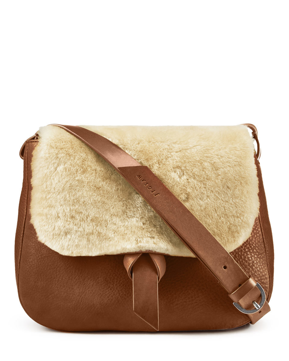 Maud Shearling Saddle Bag - predominant colour: tan; occasions: casual, creative work; type of pattern: standard; style: saddle; length: across body/long; size: standard; pattern: plain; finish: plain; material: shearling; season: a/w 2016; wardrobe: highlight