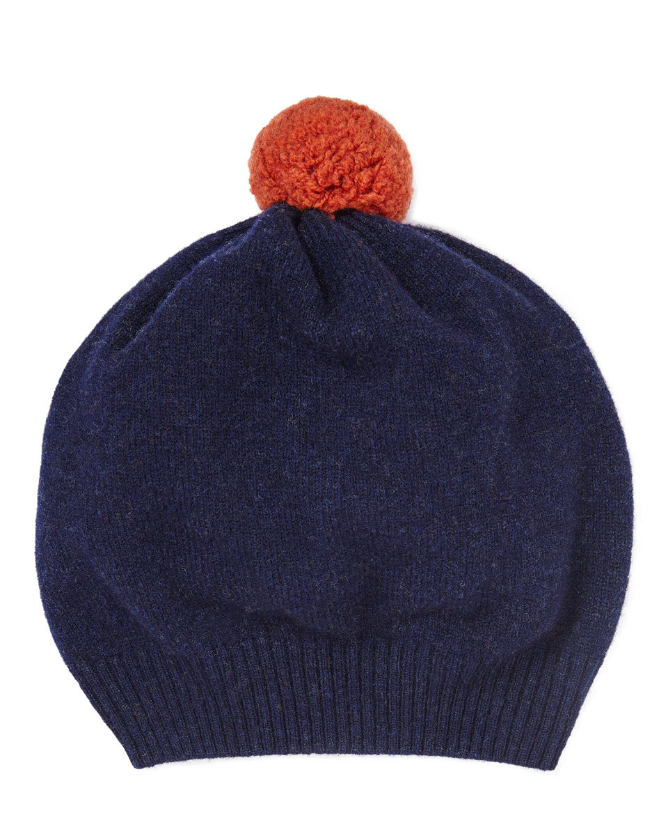 Shona Contrast Knit Pom Hat - predominant colour: navy; secondary colour: terracotta; occasions: casual; type of pattern: standard; style: bobble; size: standard; material: knits; pattern: plain; embellishment: pompom; wardrobe: basic; season: a/w 2016