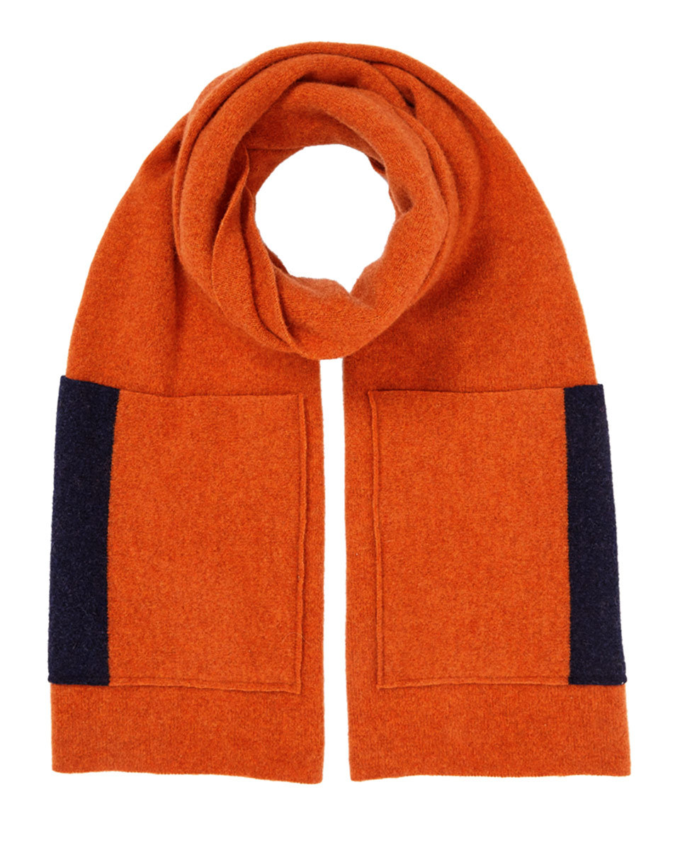 Shona Scarf Contrast Pockets - predominant colour: bright orange; secondary colour: black; occasions: casual; type of pattern: standard; style: regular; size: standard; material: knits; pattern: plain; season: a/w 2016; wardrobe: highlight