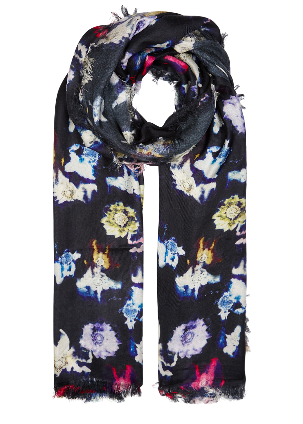 Renee Navy Floral Print Silk Scarf - predominant colour: navy; occasions: casual; type of pattern: heavy; style: regular; size: standard; material: fabric; pattern: florals; multicoloured: multicoloured; season: a/w 2016