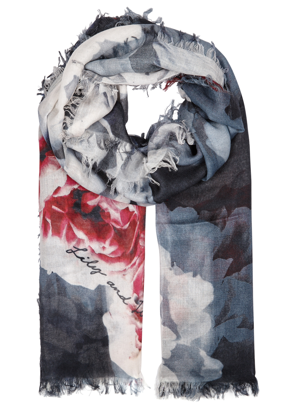 Connie Floral Print Modal Blend Scarf - predominant colour: navy; occasions: casual; type of pattern: heavy; style: regular; size: standard; material: fabric; pattern: florals; multicoloured: multicoloured; season: a/w 2016; wardrobe: highlight