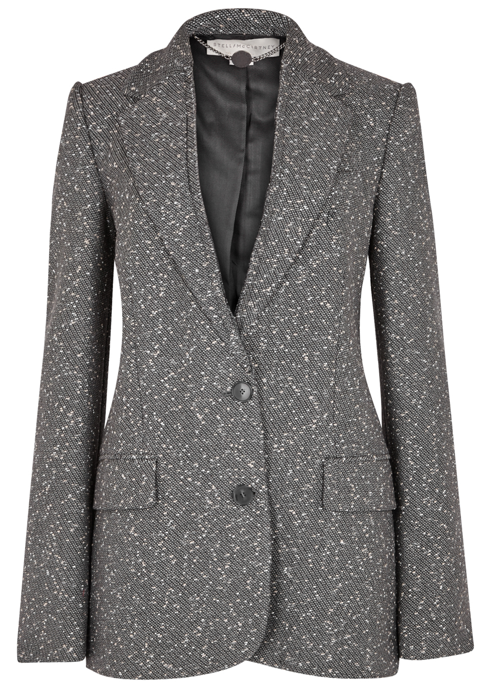 Grey Wool Blend Tweed Blazer - pattern: plain; collar: standard lapel/rever collar; style: baseball; predominant colour: mid grey; occasions: work; length: standard; fit: tailored/fitted; fibres: wool - mix; sleeve length: long sleeve; sleeve style: standard; collar break: medium; pattern type: fabric; texture group: woven bulky/heavy; season: a/w 2016; wardrobe: highlight