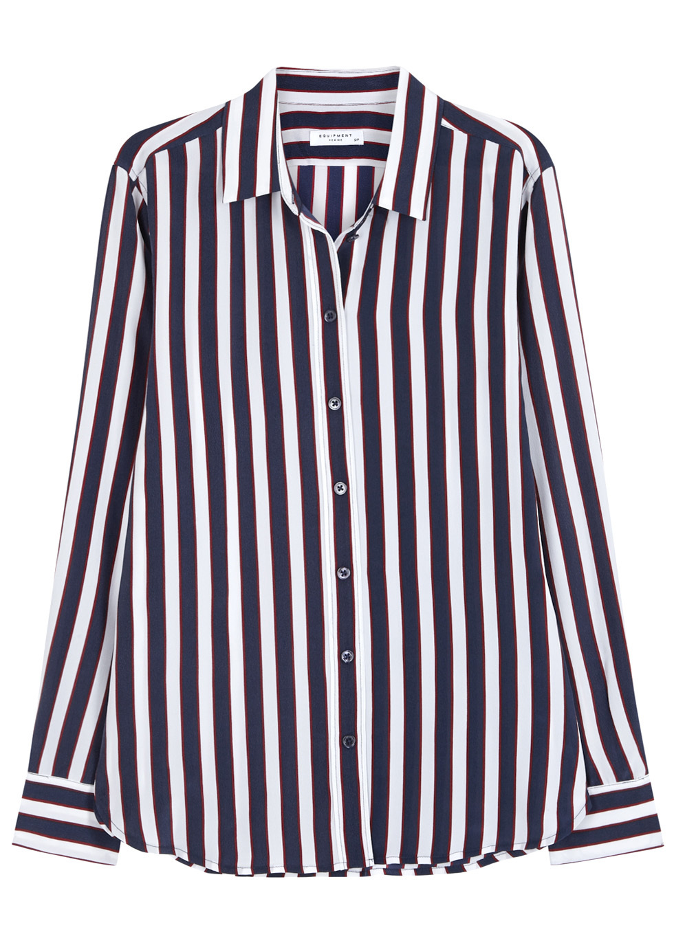 Leema Striped Washed Silk Shirt - neckline: shirt collar/peter pan/zip with opening; pattern: vertical stripes; length: below the bottom; style: shirt; predominant colour: black; occasions: work, creative work; fibres: silk - 100%; fit: loose; sleeve length: long sleeve; sleeve style: standard; texture group: silky - light; pattern type: fabric; pattern size: big & busy (top); season: a/w 2016