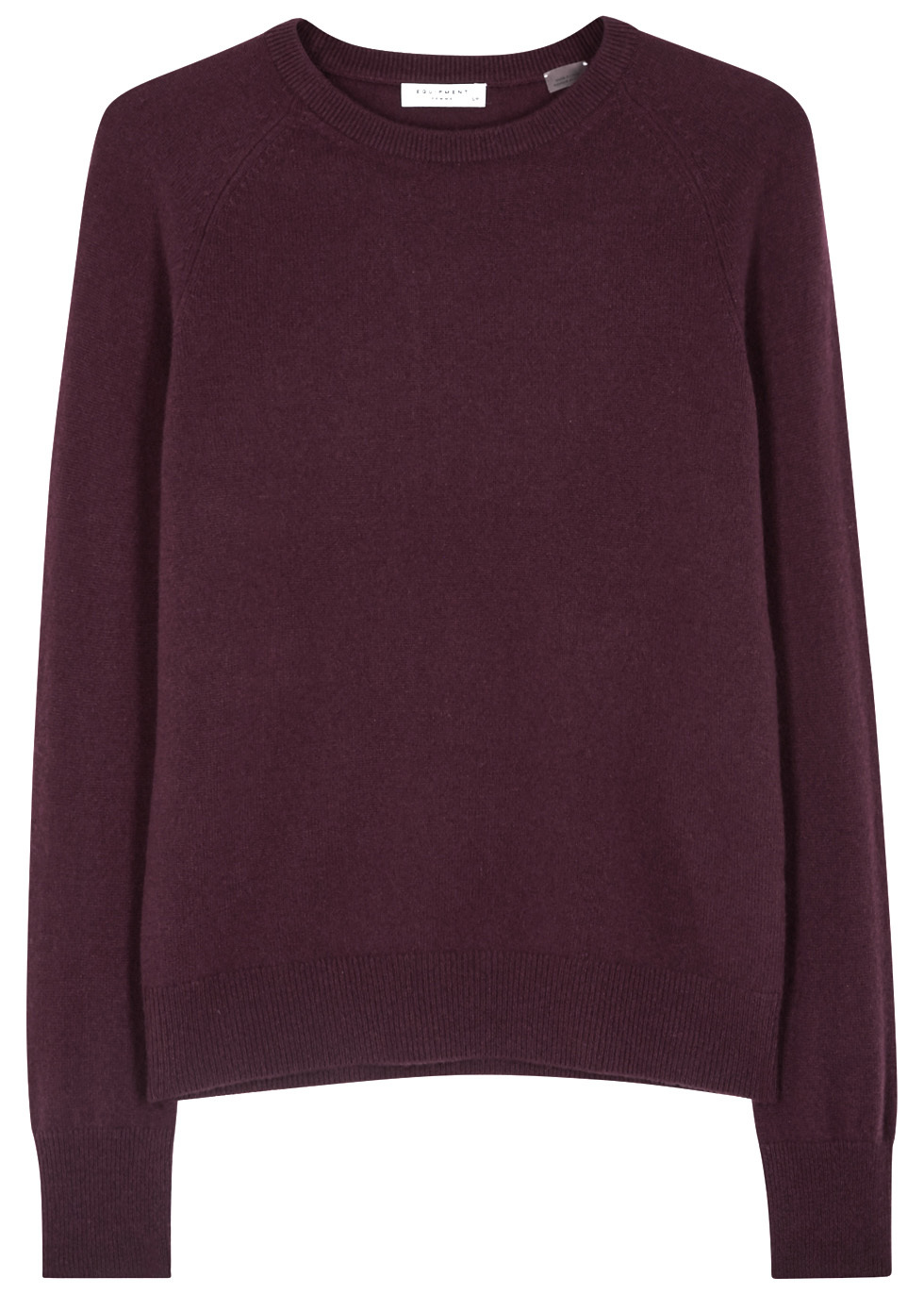 Sloane Merlot Cashmere Jumper - pattern: plain; style: standard; predominant colour: aubergine; occasions: casual; length: standard; fit: standard fit; neckline: crew; fibres: cashmere - 100%; sleeve length: long sleeve; sleeve style: standard; texture group: knits/crochet; pattern type: knitted - fine stitch; season: a/w 2016; wardrobe: highlight