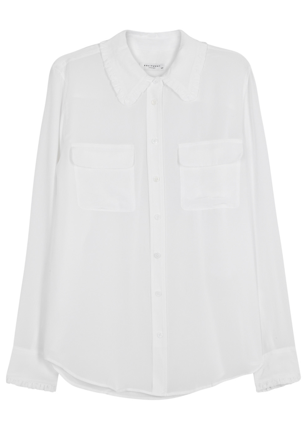 Slim Signature White Washed Silk Shirt - neckline: shirt collar/peter pan/zip with opening; pattern: plain; style: shirt; predominant colour: white; occasions: work; length: standard; fibres: silk - 100%; fit: loose; back detail: longer hem at back than at front; sleeve length: long sleeve; sleeve style: standard; texture group: silky - light; pattern type: fabric; wardrobe: basic; season: a/w 2016