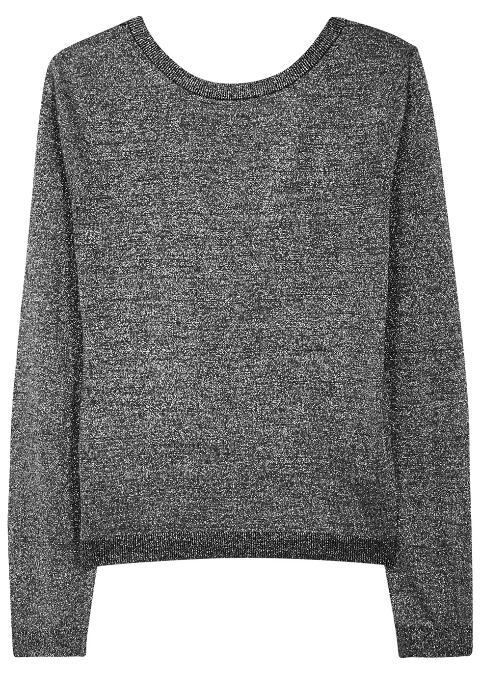 Calais Silver Low Back Cashmere Jumper - neckline: round neck; pattern: plain; style: standard; predominant colour: silver; occasions: casual, work, creative work; length: standard; fit: standard fit; fibres: cashmere - 100%; sleeve length: long sleeve; sleeve style: standard; texture group: knits/crochet; pattern type: knitted - fine stitch; season: a/w 2016; wardrobe: highlight