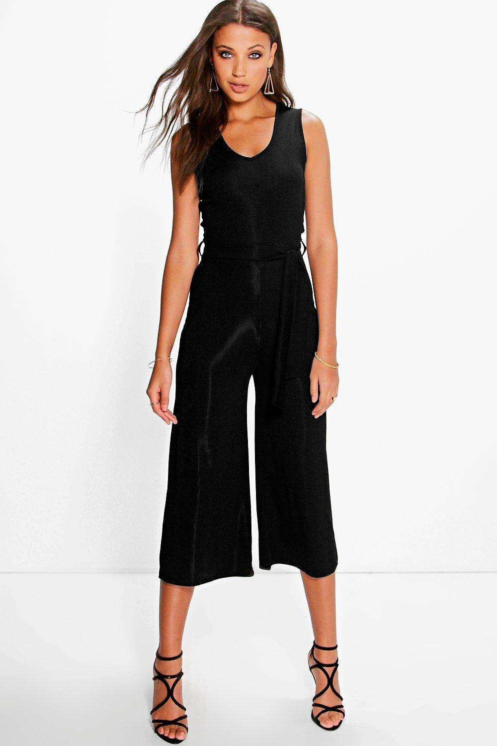 Naomi Ribbed Tie Front Culotte Jumpsuit Black - neckline: round neck; sleeve style: standard vest straps/shoulder straps; pattern: plain; predominant colour: black; occasions: evening; length: calf length; fit: body skimming; fibres: polyester/polyamide - stretch; sleeve length: sleeveless; style: jumpsuit; pattern type: fabric; texture group: jersey - stretchy/drapey; season: a/w 2016