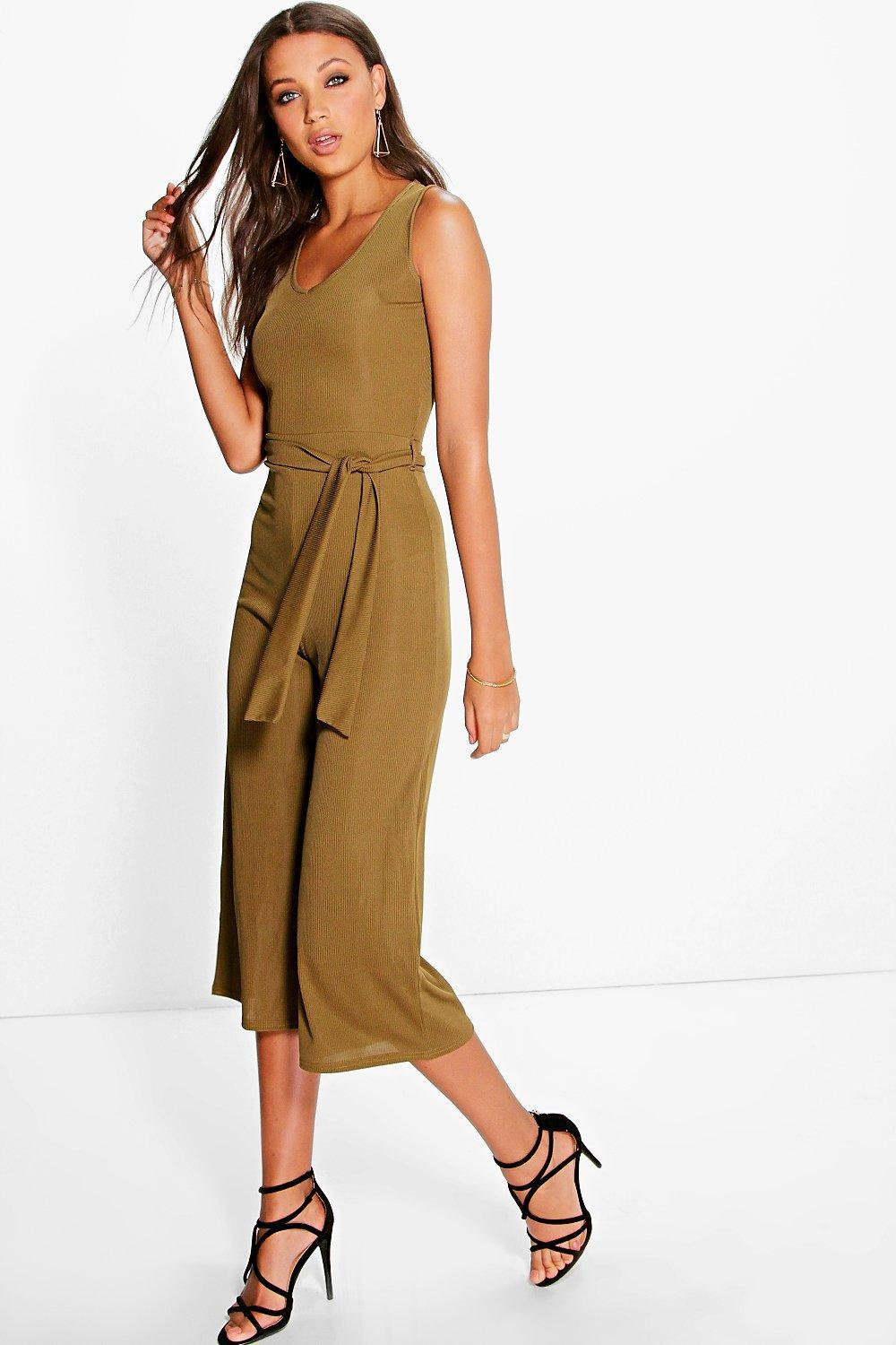 Naomi Ribbed Tie Front Culotte Jumpsuit Olive - sleeve style: standard vest straps/shoulder straps; pattern: plain; waist detail: belted waist/tie at waist/drawstring; predominant colour: khaki; occasions: evening; length: calf length; fit: body skimming; neckline: scoop; fibres: polyester/polyamide - stretch; sleeve length: sleeveless; style: jumpsuit; pattern type: fabric; texture group: jersey - stretchy/drapey; season: a/w 2016; wardrobe: event