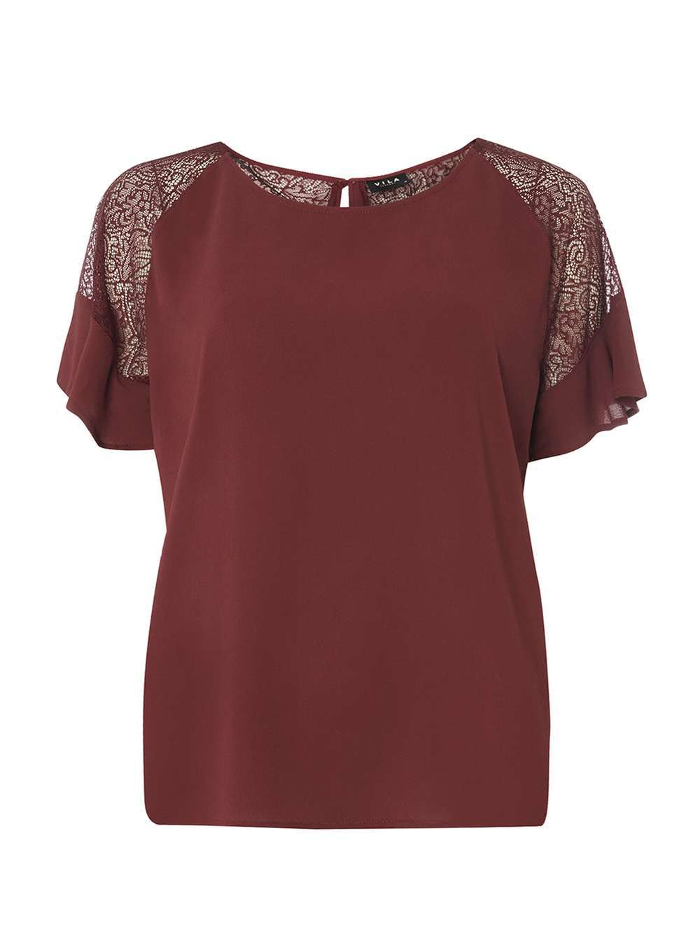 Womens **Vila Burgundy Lace Sleeve Top Red - pattern: plain; predominant colour: burgundy; occasions: evening; length: standard; style: top; fibres: polyester/polyamide - 100%; fit: loose; neckline: crew; sleeve length: short sleeve; sleeve style: standard; texture group: sheer fabrics/chiffon/organza etc.; pattern type: fabric; embellishment: lace; shoulder detail: sheer at shoulder; season: a/w 2016; wardrobe: event