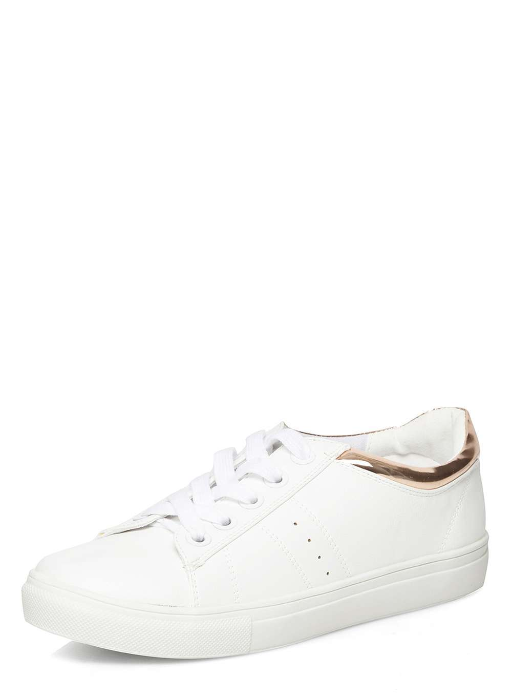 Womens Rose Gold 'cady' Lace Up Trainers Rose Gold - predominant colour: white; occasions: casual; material: fabric; heel height: flat; toe: round toe; style: trainers; finish: plain; pattern: plain; wardrobe: basic; season: a/w 2016
