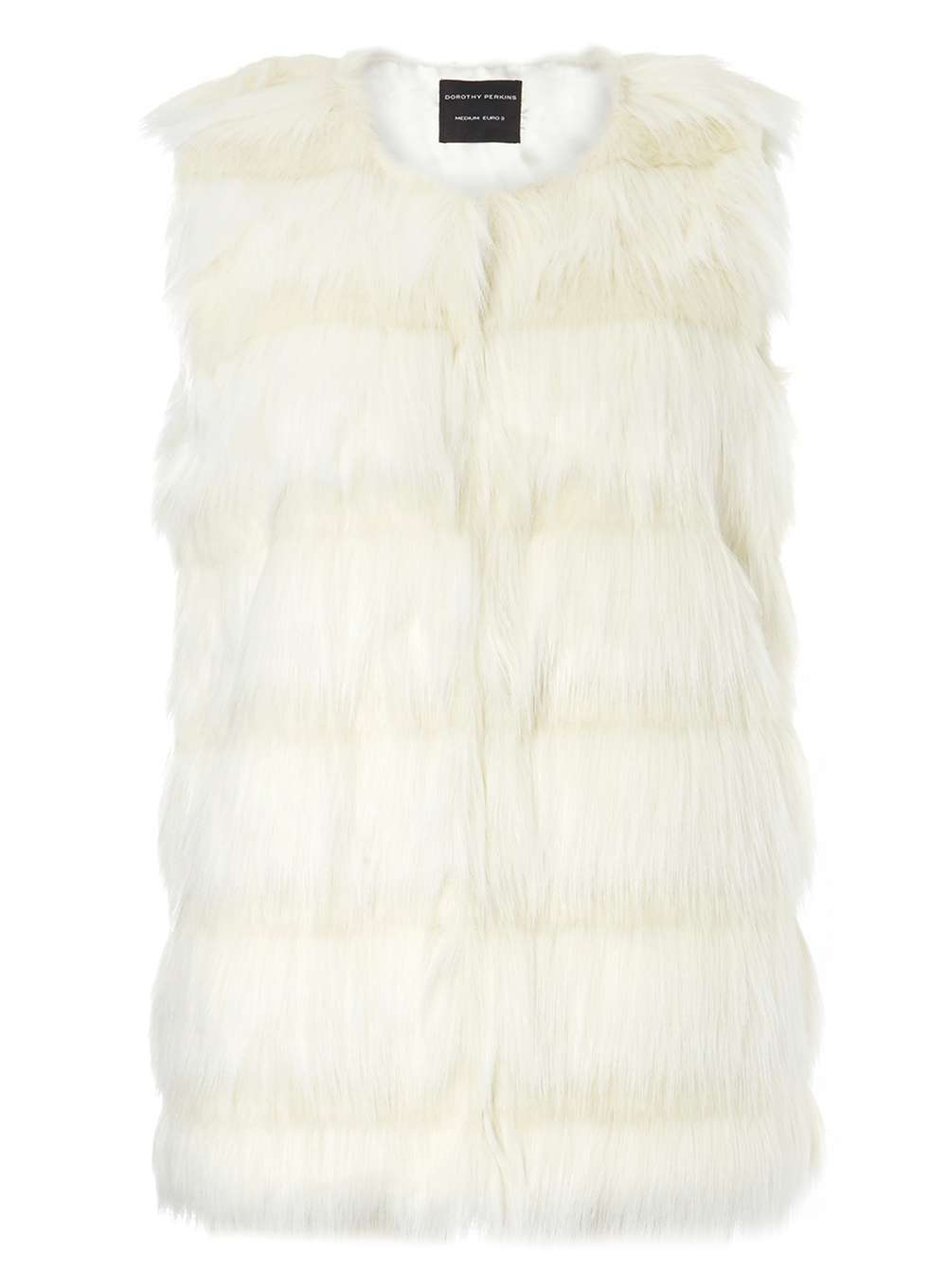 Womens White Carved Gilet White - pattern: plain; sleeve style: sleeveless; style: gilet; collar: round collar/collarless; fit: slim fit; predominant colour: white; occasions: casual, creative work; length: standard; fibres: acrylic - mix; sleeve length: sleeveless; texture group: fur; collar break: high; pattern type: fabric; season: a/w 2016