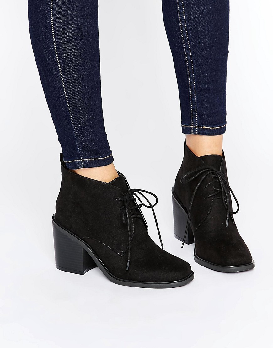 Lace Up Mid Heel Boots Black Micro - predominant colour: black; occasions: casual; heel height: mid; heel: block; toe: round toe; boot length: ankle boot; style: standard; finish: plain; pattern: plain; material: faux suede; season: a/w 2016