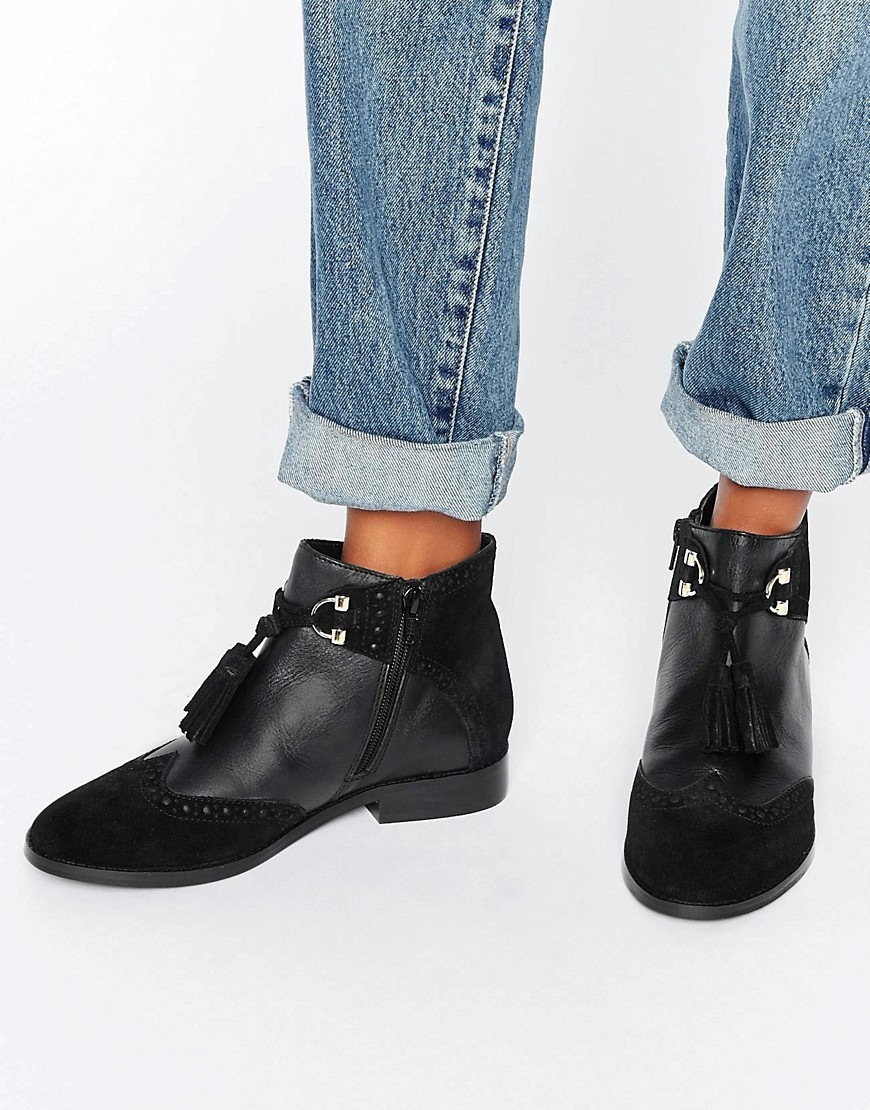 Alya Leather Tassel Ankle Boots Black Leather/Suede - predominant colour: black; occasions: casual; material: leather; heel height: flat; embellishment: tassels; heel: block; toe: round toe; boot length: ankle boot; style: standard; finish: plain; pattern: plain; wardrobe: basic; season: a/w 2016