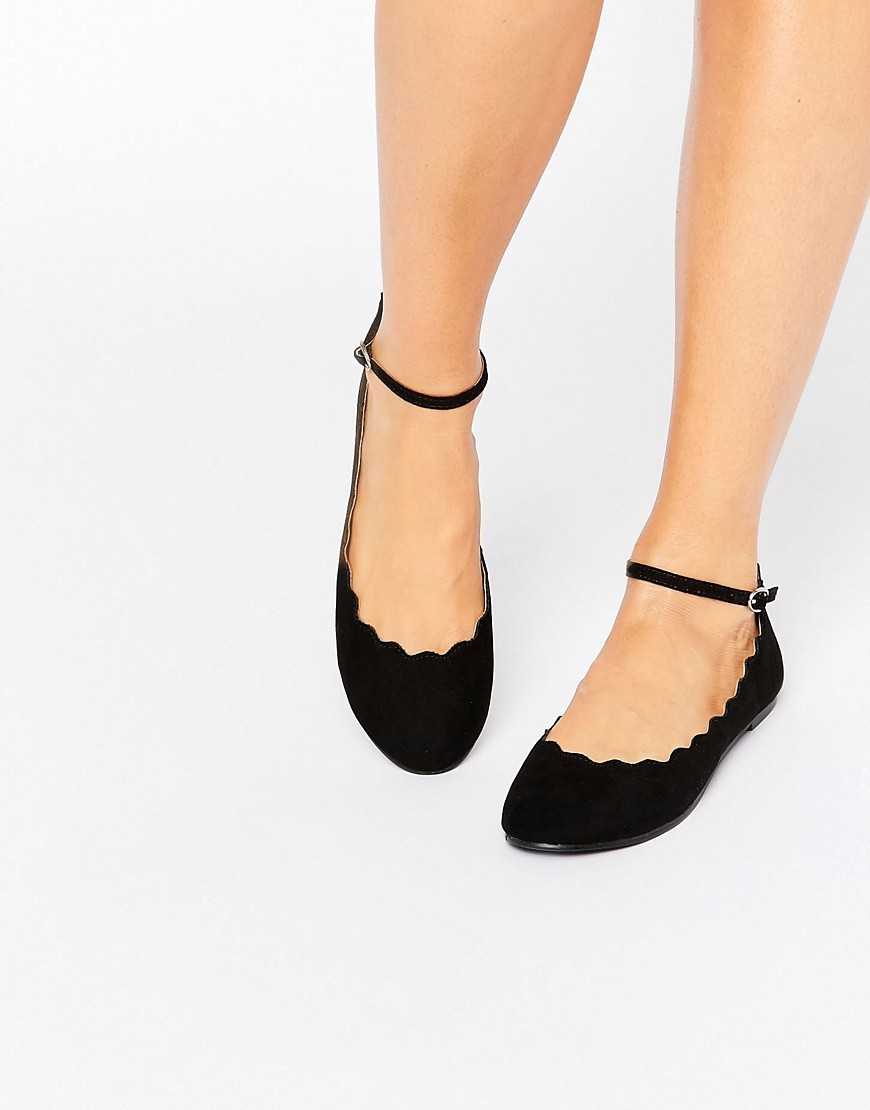 Scallop Edge Ankle Strap Ballerina Black Micro - predominant colour: black; occasions: casual, creative work; heel height: flat; ankle detail: ankle strap; toe: round toe; style: ballerinas / pumps; finish: plain; pattern: plain; material: faux suede; season: a/w 2016