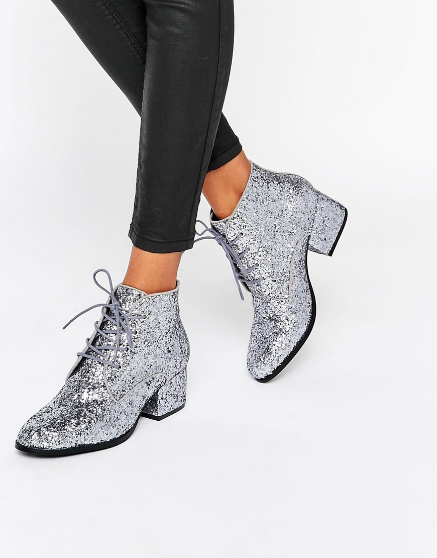 Glitter Lace Up Mid Heel Ankle Boot Pewter Glitter - predominant colour: silver; occasions: casual, creative work; material: faux leather; heel height: mid; embellishment: glitter; heel: block; toe: round toe; boot length: ankle boot; style: standard; finish: metallic; pattern: plain; season: a/w 2016; wardrobe: highlight
