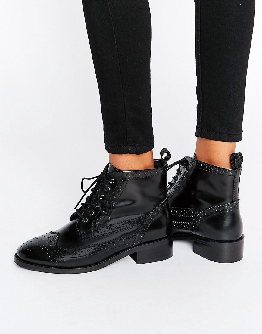 Artistry Leather Lace Up Brogue Boots Black Box Leather - predominant colour: black; occasions: casual, creative work; material: leather; heel height: mid; embellishment: embroidered; heel: block; toe: round toe; boot length: ankle boot; style: standard; finish: plain; pattern: plain; season: a/w 2016; wardrobe: highlight