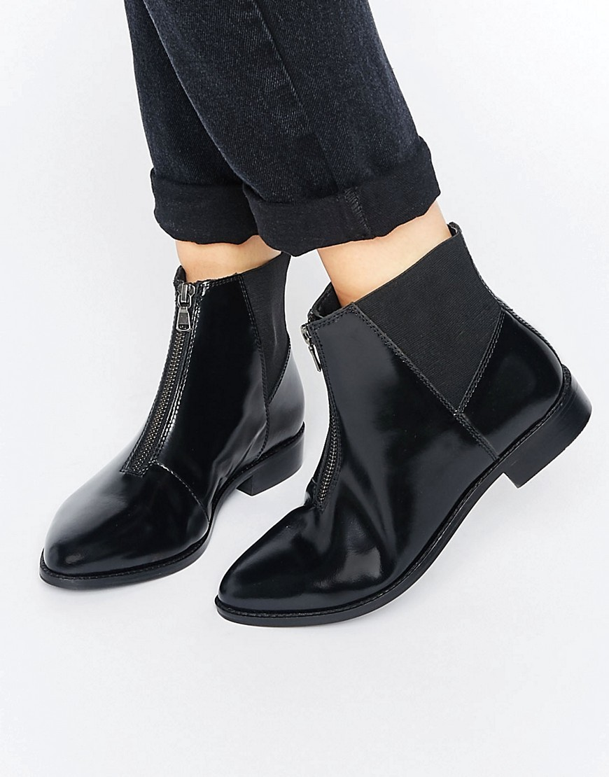 Alsace Leather Zip Ankle Boots Black Box Leather - predominant colour: black; occasions: casual, creative work; material: leather; heel height: mid; heel: block; toe: pointed toe; boot length: ankle boot; style: standard; finish: plain; pattern: plain; season: a/w 2016