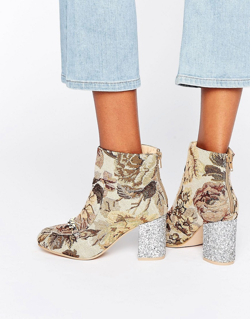 Ramma Chain Ankle Boots Tapestry - predominant colour: ivory/cream; secondary colour: charcoal; occasions: casual; material: fabric; heel height: high; embellishment: glitter; heel: block; toe: round toe; boot length: ankle boot; style: standard; finish: plain; pattern: florals; season: a/w 2016; wardrobe: highlight