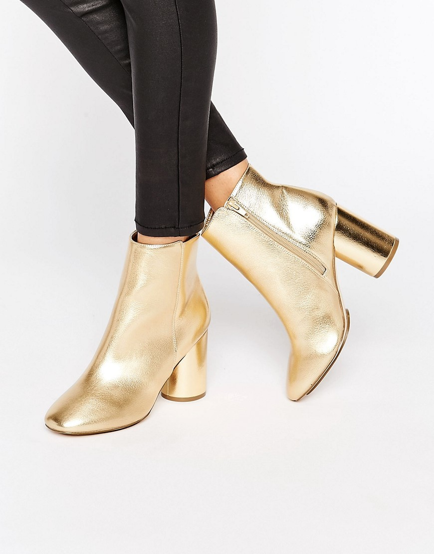 Gold Round Heel Boot Gold Pu - predominant colour: gold; occasions: casual; material: faux leather; heel height: high; heel: block; toe: round toe; boot length: ankle boot; style: standard; finish: metallic; pattern: plain; season: a/w 2016; wardrobe: highlight