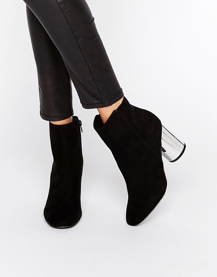 Round Heel Boot With Mirror Heel Black Mf/Silver Heel - predominant colour: black; occasions: casual, creative work; heel height: high; heel: block; toe: pointed toe; boot length: ankle boot; style: standard; finish: plain; pattern: plain; material: faux suede; season: a/w 2016; wardrobe: highlight
