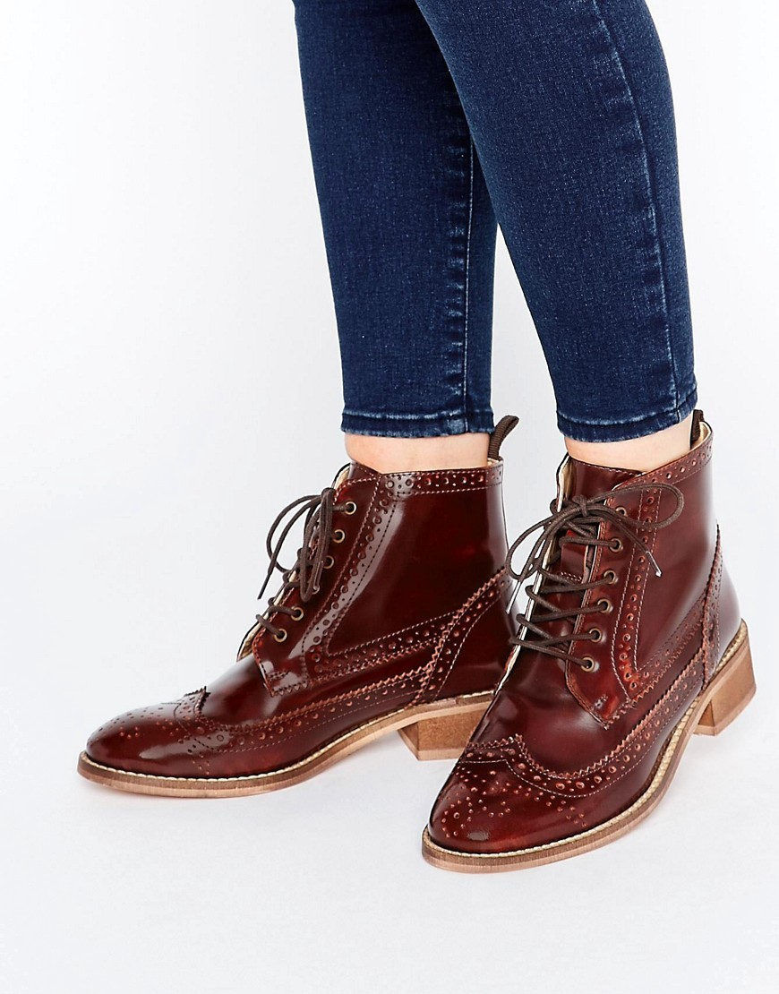 Artistry Leather Lace Up Brogue Boots Conquer - predominant colour: chocolate brown; occasions: casual; material: faux leather; heel height: flat; heel: block; toe: round toe; boot length: ankle boot; style: standard; finish: plain; pattern: plain; wardrobe: basic; season: a/w 2016