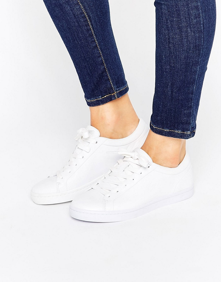 Premium Leather Straightset Court Trainers White - predominant colour: white; occasions: casual; material: leather; heel height: flat; toe: round toe; style: trainers; finish: plain; pattern: plain; wardrobe: basic; season: a/w 2016