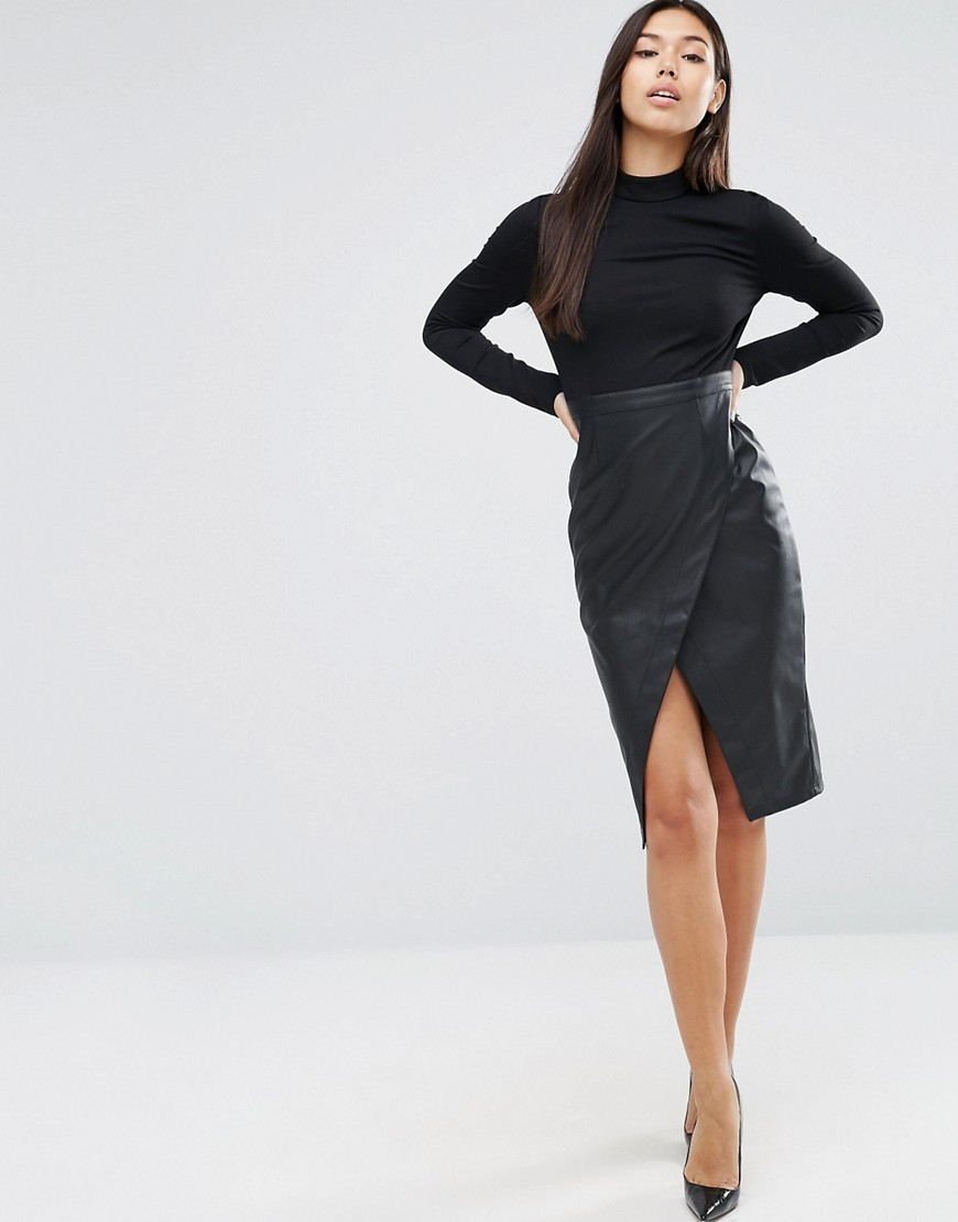 Long Sleeve Leather Look Skirt Dress Black - style: shift; pattern: plain; neckline: high neck; hip detail: draws attention to hips; predominant colour: black; occasions: evening; length: on the knee; fit: body skimming; fibres: polyester/polyamide - 100%; sleeve length: long sleeve; sleeve style: standard; pattern type: fabric; texture group: other - light to midweight; season: a/w 2016; wardrobe: event
