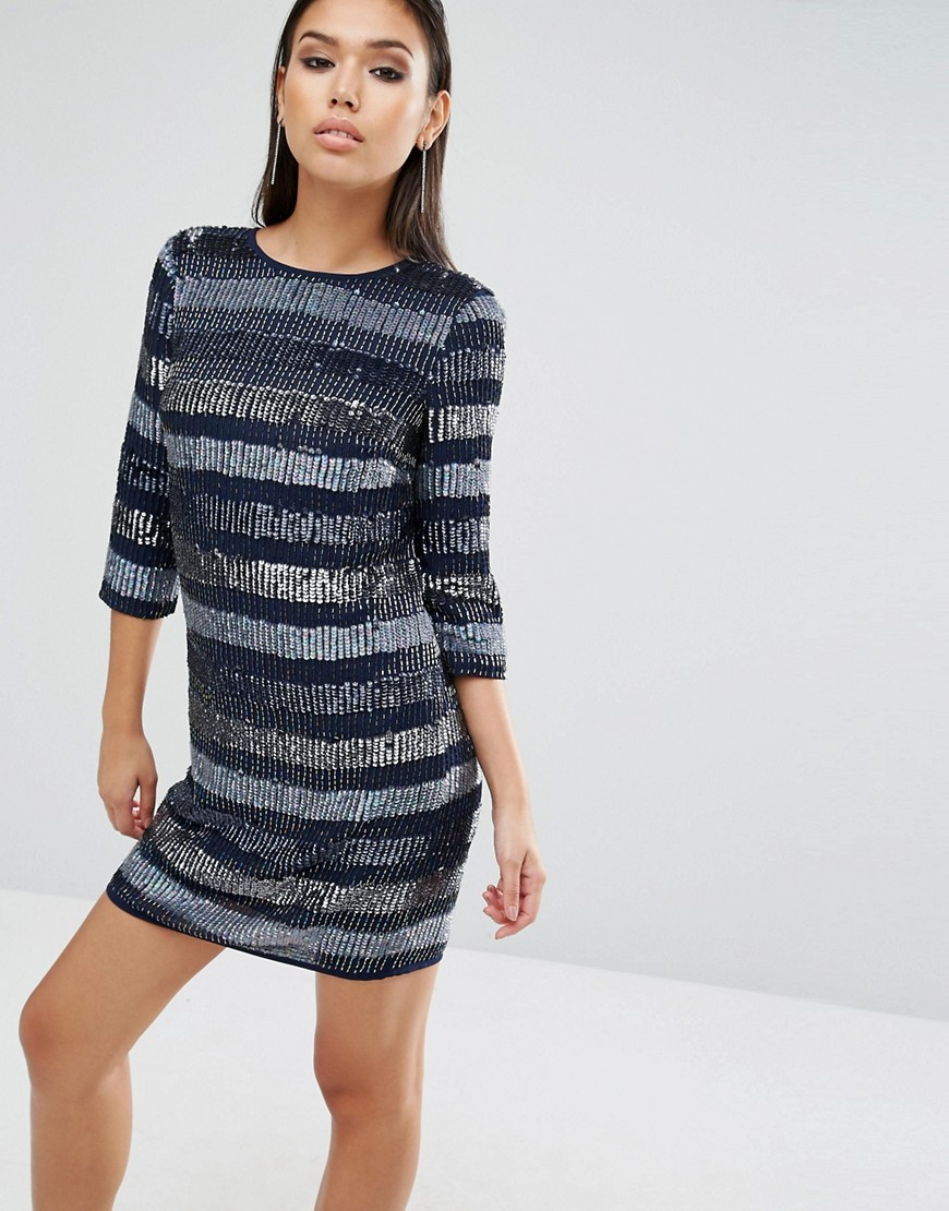 Sequin Linear Shift Mini Dress Navy - style: shift; length: mini; pattern: horizontal stripes; secondary colour: pale blue; predominant colour: navy; occasions: evening; fit: body skimming; fibres: polyester/polyamide - stretch; neckline: crew; sleeve length: 3/4 length; sleeve style: standard; texture group: jersey - clingy; pattern type: fabric; embellishment: sequins; multicoloured: multicoloured; season: a/w 2016; wardrobe: event; embellishment location: pattern