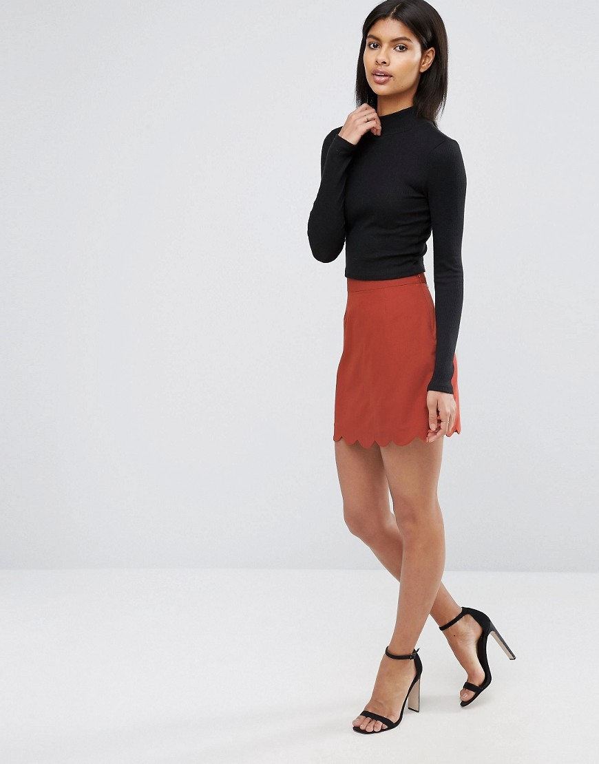 A Line Mini Skirt With Scallop Hem Rust - length: mini; pattern: plain; waist: high rise; predominant colour: terracotta; occasions: casual; style: mini skirt; fibres: polyester/polyamide - stretch; fit: straight cut; pattern type: fabric; texture group: woven light midweight; season: a/w 2016; wardrobe: highlight