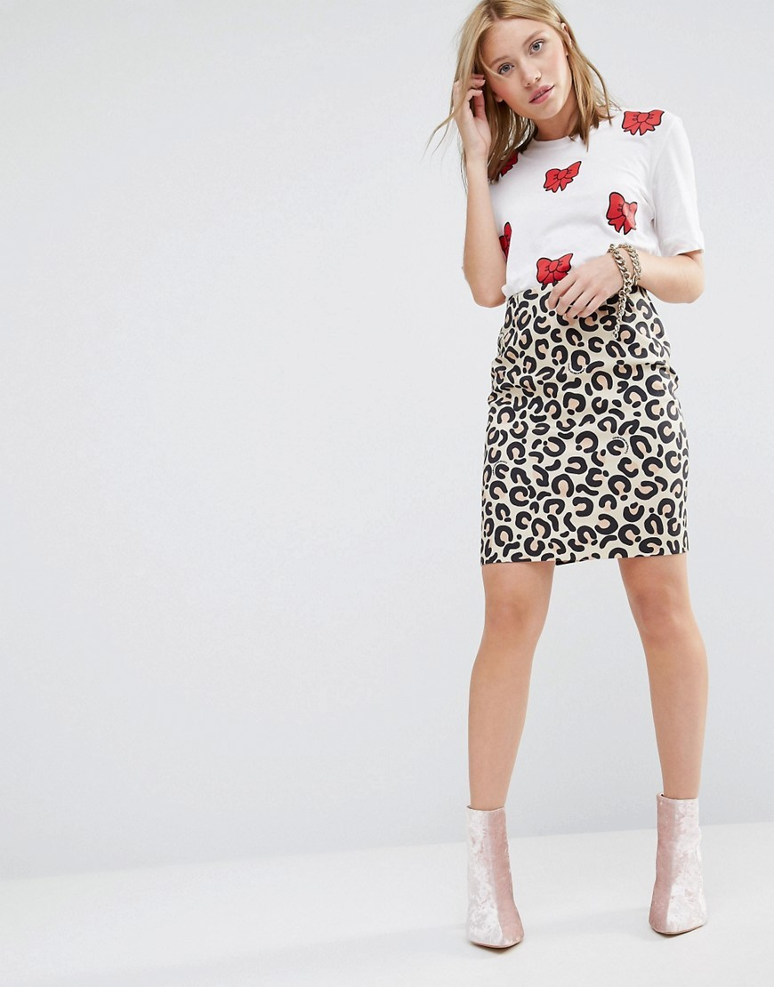 Animal Print Pencil Skirt Beige - style: pencil; fit: tight; waist: high rise; predominant colour: black; occasions: casual, creative work; length: just above the knee; fibres: cotton - stretch; texture group: jersey - clingy; pattern type: fabric; pattern: animal print; multicoloured: multicoloured; season: a/w 2016; wardrobe: highlight