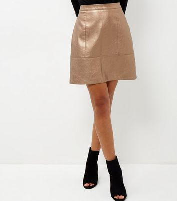 Bronze Leather Look Metallic Mini Skirt - length: mid thigh; pattern: plain; fit: loose/voluminous; waist: high rise; predominant colour: bronze; occasions: evening; style: a-line; fibres: polyester/polyamide - 100%; waist detail: narrow waistband; texture group: leather; pattern type: fabric; season: a/w 2016