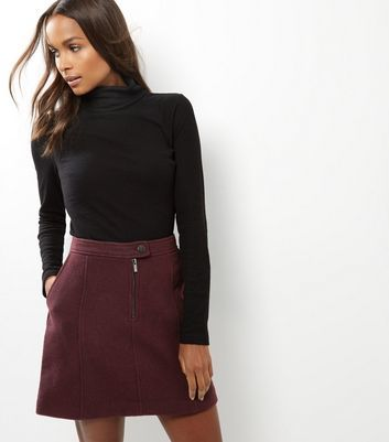 Burgundy Zip Front Skirt - length: mini; pattern: plain; fit: loose/voluminous; waist: high rise; predominant colour: burgundy; style: a-line; fibres: polyester/polyamide - 100%; waist detail: feature waist detail; pattern type: fabric; texture group: woven bulky/heavy; occasions: creative work; season: a/w 2016; wardrobe: highlight