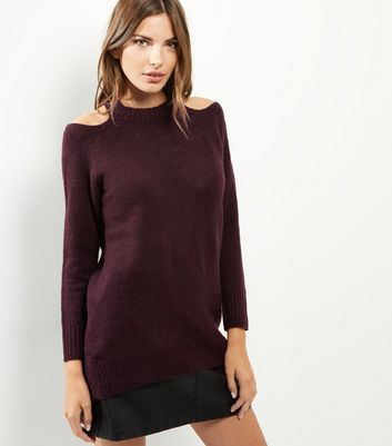 Burgundy Cold Shoulder Long Sleeve Jumper - pattern: plain; neckline: high neck; length: below the bottom; style: tunic; predominant colour: burgundy; occasions: casual; fibres: acrylic - mix; fit: standard fit; shoulder detail: cut out shoulder; sleeve length: long sleeve; sleeve style: standard; pattern type: fabric; texture group: jersey - stretchy/drapey; season: a/w 2016; wardrobe: highlight