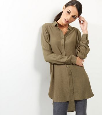 Khaki Long Sleeve Longline Shirt - neckline: shirt collar/peter pan/zip with opening; pattern: plain; length: below the bottom; style: shirt; predominant colour: khaki; occasions: casual; fit: loose; sleeve length: long sleeve; sleeve style: standard; texture group: sheer fabrics/chiffon/organza etc.; pattern type: fabric; fibres: viscose/rayon - mix; wardrobe: basic; season: a/w 2016