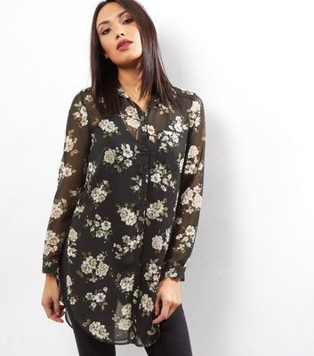 Black Floral Print Longline Shirt - neckline: shirt collar/peter pan/zip with opening; length: below the bottom; style: shirt; secondary colour: ivory/cream; predominant colour: black; occasions: casual; fibres: polyester/polyamide - 100%; fit: loose; sleeve length: long sleeve; sleeve style: standard; texture group: sheer fabrics/chiffon/organza etc.; pattern type: fabric; pattern size: standard; pattern: florals; multicoloured: multicoloured; season: a/w 2016; wardrobe: highlight