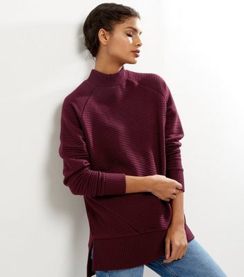 Burgundy Ribbed Funnel Neck Sweater - pattern: plain; neckline: high neck; length: below the bottom; style: standard; predominant colour: burgundy; occasions: casual; fibres: polyester/polyamide - stretch; fit: loose; sleeve length: long sleeve; sleeve style: standard; pattern type: fabric; texture group: jersey - stretchy/drapey; season: a/w 2016; wardrobe: highlight