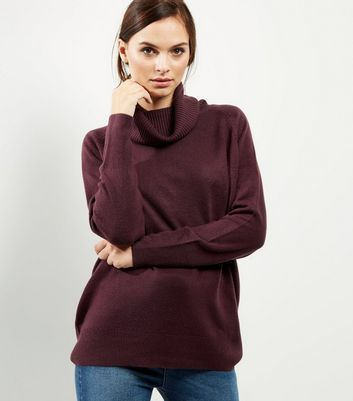 Burgundy Oversized Cowl Neck Long Sleeve Jumper - neckline: cowl/draped neck; pattern: plain; style: standard; predominant colour: burgundy; occasions: casual; length: standard; fibres: acrylic - 100%; fit: loose; sleeve length: long sleeve; sleeve style: standard; texture group: knits/crochet; pattern type: knitted - fine stitch; season: a/w 2016; wardrobe: highlight
