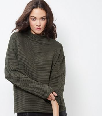 Khaki Ribbed Funnel Neck Sweater - pattern: plain; neckline: high neck; style: standard; predominant colour: khaki; occasions: casual; length: standard; fibres: polyester/polyamide - mix; fit: loose; sleeve length: long sleeve; sleeve style: standard; pattern type: fabric; texture group: jersey - stretchy/drapey; season: a/w 2016; wardrobe: highlight