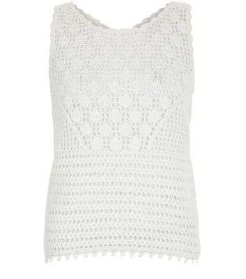 Cream Crochet Tie Back Vest - pattern: plain; sleeve style: sleeveless; predominant colour: white; occasions: casual; length: standard; style: top; fibres: cotton - 100%; fit: body skimming; neckline: crew; sleeve length: sleeveless; texture group: knits/crochet; pattern type: knitted - other; wardrobe: basic; season: a/w 2016
